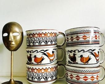 Retro Soup Mugs - Set of 6