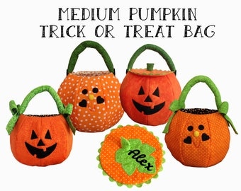 Personalized Halloween Bag, Trick or Treat Pumpkin Bag, Halloween Trick or Treat Bag Personalized,  Pumpkin Trick Or Treat Bag, Medium Tote