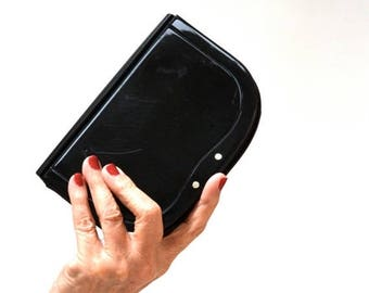 SALE Vintage Black Clutch Hard Case Acrylic and Leather Made in Italy// Vintage Black Evening Bag Saks Fifth Avenue