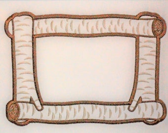 Birch Logs embroidered quilt label to customize with your personal message