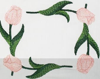 Tulip floral design frame Embroidered Quilt Label to customize with your personal message