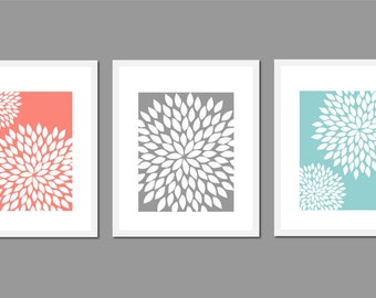 Grey Bathroom, Gray Bathroom Art, Coral and Teal Bathroom, Floral Wall Art, Bedroom Wall Art, Coral Bathroom Decor, Gray and White Wall Art