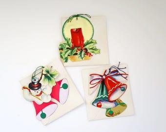 Vintage Christmas Greeting Card Ornaments, Brilliants Holiday Greetings, Christmas Card Ornaments, Die Cut and Foil Ornaments, Xmas Ephemera