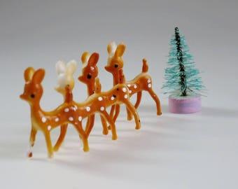 "Vintage Christmas Mini Reindeer, Teeny Tiny Reindeer Decorations, 3/4"" Reindeer, Craft Pieces, Christmas Crafting,  Putz Reindeer"