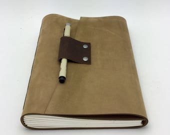Large Water-Resistant Tan Leather Journal, Sketchbook, In Stock