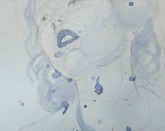 Blue Drawing of Woman