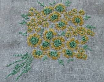 Embroidered Linen Tablecloth with Embroidered Yellow and Green Flowers and Hem Stitching - Great for Repurposing - 36 X 36 - VL19N