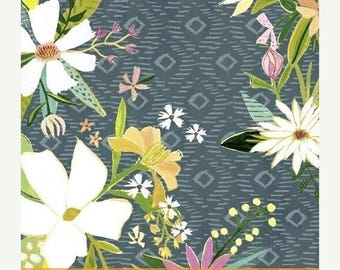SALE 10% Off - Blush & Bloom FLORAL IN Blue  41646-2 - by Iza Pearl Designs for Windham Fabric  - By the Yard