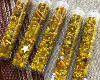 Yellow Mixed BEAD SOUP,  long tube, Glass and Shell, Sale Priced