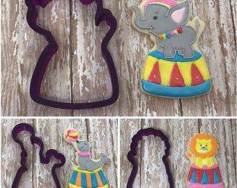 Circus Animals Elephant Seal Lion Cookie Cutter and Fondant Cutter and Clay Cutter