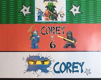 Ninjago WATER BOTTLE LABELS for Birthday Party