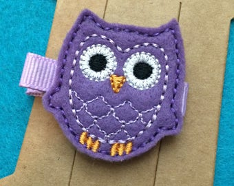 Purple Owl Embroidered Felt Hair Bow Clip with Lavender Stitching