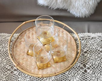 set of 5 stemware amber glass champagne cocktail drinking glasses / orange