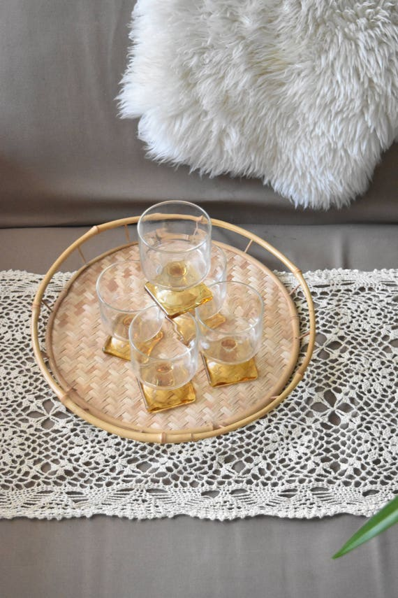 set of 5 stemware amber glass champagne cocktail drinking glasses / orange