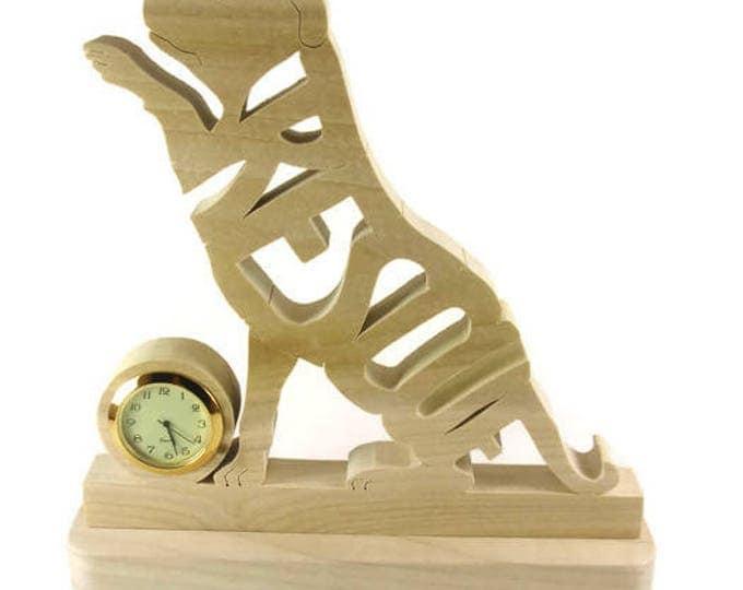 Rescue K9 Dog Desk Or Shelf Clock Handmade From Poplar Wood By KevsKrafts