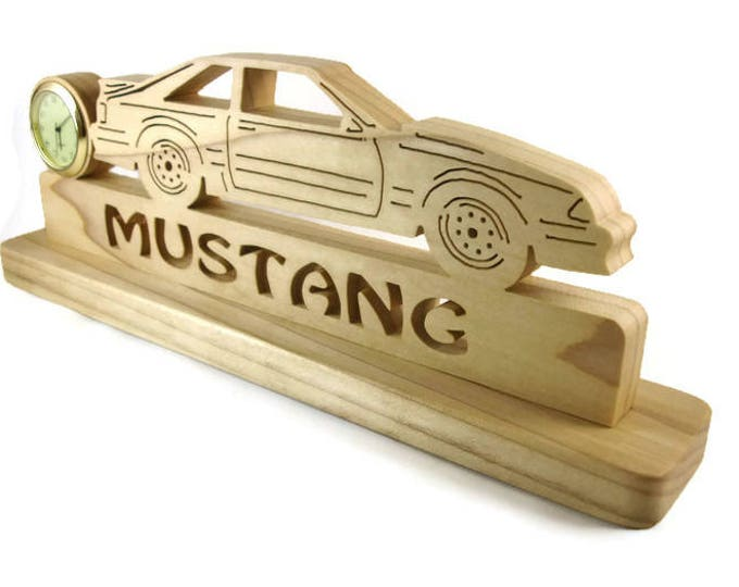 Wooden Ford Mustang Foxbody Desk Or Shelf Clock Handmade From Poplar Wood By KevsKrafts