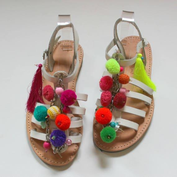 SALE!! Size 39 -US 8-8.5Boho sandals leather sandals!Pom pom sandals Greek leather sandals, strap leather sandals
