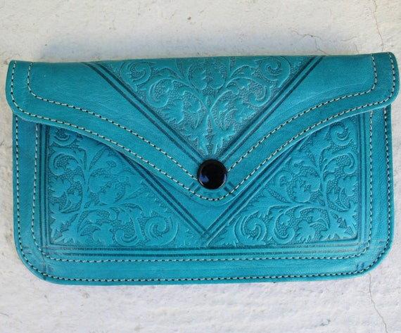 Leather wallet, blue leather womens wallet, orange wallet, pochette femme