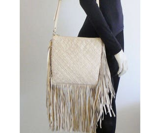 Clever Carriage Company Boho Hippie Woven Leather Fringe Crossbody Shoulder Bag Hand Crafted