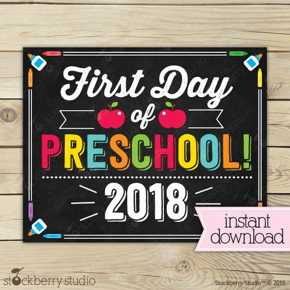 It is a photo of Slobbery First Day of Preschool Printable