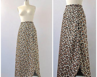 HELLO KITTY Vintage 60s Skirt   1960's Lurex Leopard Print Maxi Skirt   Gold and Black Animal Print   Funk , Cocktail, Disco   Size Small