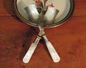 Two Antique Silver Plate Sugar Spoons / Sugar Shovel / Antique Mother of Pearl JB Hallmark