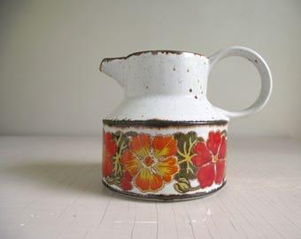 Midwinter Stonehenge Nasturtium Pitcher , Vintage Stoneware Pitcher , Designer Jessie Tait , Bright Floral Retro Pitcher