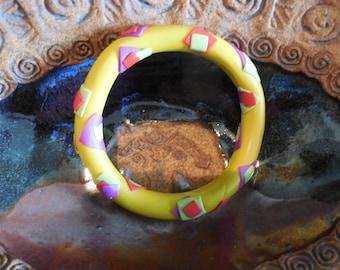 Funky Fiesta Bangle - Polymer clay bangle - Colorful artisan bangle - Yellow bangle - Colorful bangle bracelet - Ladies bangle bracelet