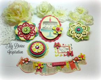 Cute Handmade Paper Embellishments and Paper Flowers for Scrapbook Layouts Cards Mini Albums Tags Planners Journals and Paper Crafts
