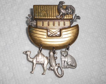 Vintage 1980s Noah's Ark two-tone gold & silver chandelier-style brooch / pin