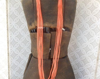 "VNT 60s TANGERINE Orange MOD Beaded Necklace 46"" Multi Strand Excellent"