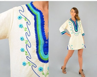 SUMMER SALE 70's Embroidered Columbian Tunic Dress