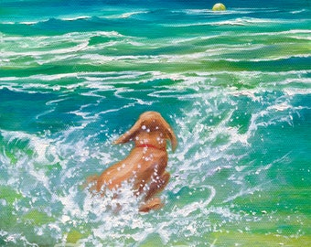 "Dog Splashing, Dog Chasing A Ball, Dog Swimming - Original Oil Painting called ""Go Get It!"" ~ Framed"