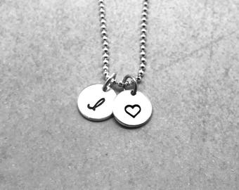 Initial Necklace with Heart, Sterling Silver, Personalized Heart Necklace, Hand Stamped Jewelry, Letter I Necklace, Mother's Necklace
