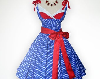 Charming American Flag Inspiration 50s Pin up Rockabilly Swing Dress Full Swing Skirt
