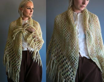 Vintage 1950's Soft Green and Peach Mohair Knit Shawl / Poncho / One Size Women's