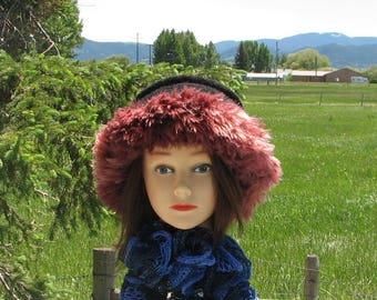 Knit Felt Black Wine Mauve Wool Fur Trim Hat  Crusher