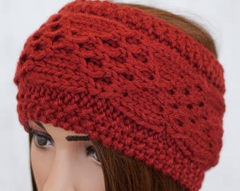 Wide Knit Head Band - Red Cable Headband - Burnt Red Head Band - Cable Knitted Headband - Ear Warmer - Women's Knit Accessories