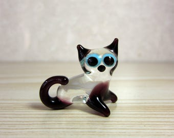 Vintage 50's - 60's MURANO Hand Blown Glass Miniature CAT Figurine