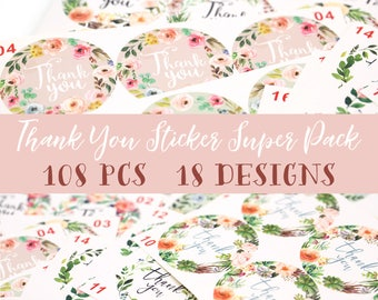 108 PCS (18 Designs) Assorted Thank You sticker Super Pack Sampler Floral Watercolor Wreath Round Cut Sticker for Etsy Sellers Wedding Party