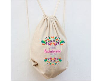 Bachelorette Backpacks, Mexico Bachelorette,  Drawstring Cinch Bags, Hotel Guest Bag, Backpack for guests, Beach Bags for Wedding