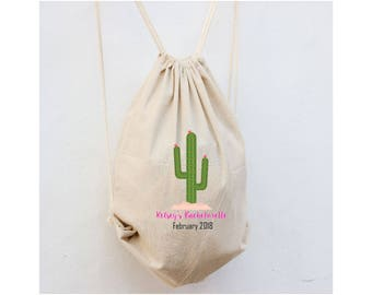 Bachelorette Backpacks, Mexico Bachelorette, Drawstring Cinch Bags, Cactus Bridesmaid Gift, Backpack for guests, Beach Bags for Wedding