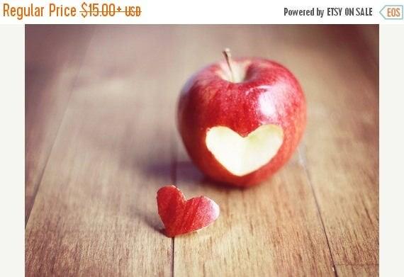 Food Photography Kitchen Art: Red Apple heart Fine Art Photography Wall Art Print Fruit Still life Fruit Wall Art Kitchen wall art fruit