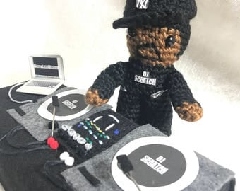 DJ Scratch Inspired Crocheted Action Figure With Turntables