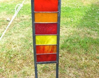 Stained Glass Garden Ornament / Architectural Panel in Red, Orange and Yellows – 57 x 11.75 cm