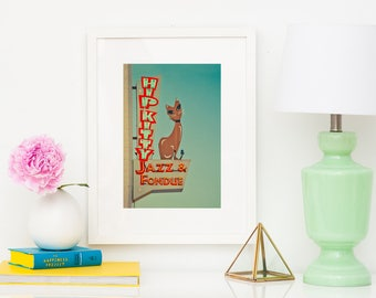Hip Kitty Jazz and Fondue Club | Vertical Wall Art | Mid Century Modern Art | Neon Sign Art | Red and Teal Decor | Retro Wall Art