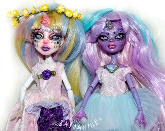 ON RESERVE for Iro Payment 4/4  monster high doll custom ooak repaint artist unicorn fantasy magical rainbow girl - Glitter & Gem