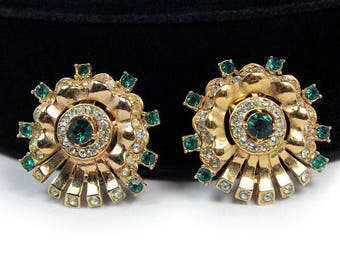 Halbe Green Rhinestone Earrings, 1950s - Rare Mark