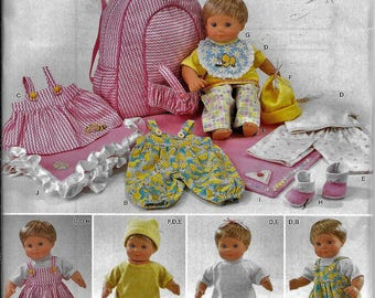 implicity 0383/1952 Fits 15 Inch Bitty Baby Twin Doll Clothes Carrier Backpack Sewing Pattern UNCUT