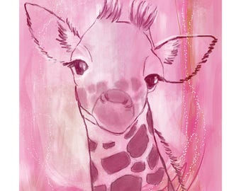 5x7 Nursery Print - Giraffe, Pink